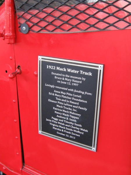 The vintage 1922 Mack Water Truck was donated to the Automotive Museum by Bruce and Mary Hazard in 1997. Hazard Construction Company dates from the early 1920's.