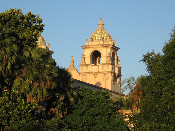 Tower of Casa del Prado in San Diego sunshine, shortly before sunset.