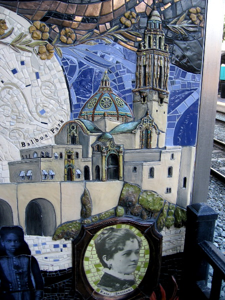 Tile mosaic artwork in downtown San Diego near the Santa Fe Depot depicts Balboa Park's iconic California Building and Kate Sessions.