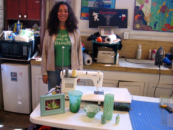 And look at all the green inside Studio 19, home of friendly glass artists!
